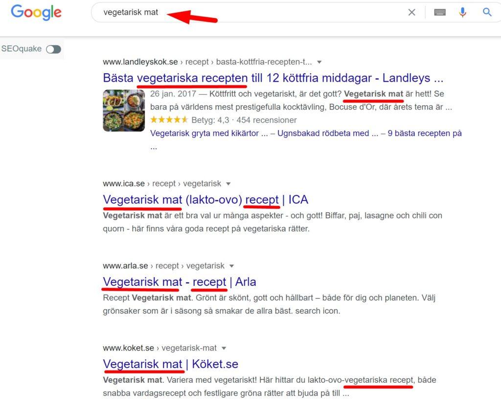 search intent och webbcopy